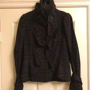 BCBG fitted plaid coat with ruffle detail